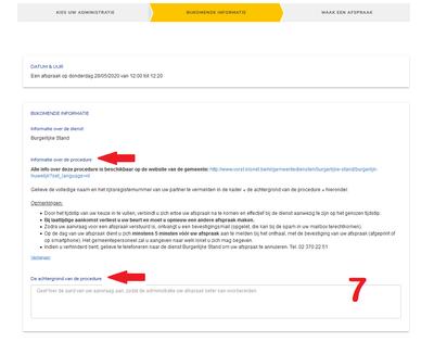 Prise de RDV en ligne écran 3 infos complémentaires NL